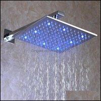 Cabezas Grifos, duchas como Home Gardeverhead Head LED Cabeza de precipitación LED 12 pulgadas Baño cuadrado Cepillado Nickle con brazos de ducha Drop. Entrega 2021
