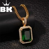 Mens Iced Out Pendant Necklace Faux Micro Onyx, Clear Stone Hip Hop 24inch 30inch Silver color Box CZ Chain 210929