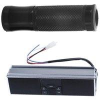 -1 Pcs 7 8 Inch 22mm CNC Motorcycle Handlebar Grip Black & 1 Waterproof Bluetooth Audio Stereo Speaker Glove