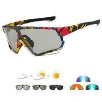 Outdoor Eyewear Printing Polarized Pochromic Cycling Glasses UV400 Bicycles Sports Sunglasses Men Women Bicycle