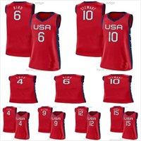 USA Team 2021 Tokyo Olympiade Basketball 17 Skylar Diggins-Smith 4 Jewell Loyd 18 Grey 11 Elena delle Donne 7 Maya Moore 14 Tina Charles Rote Frauen Kinder Männer Trikots