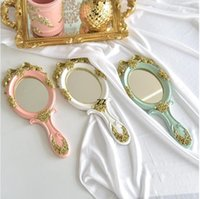 Make Up Lens Hand Mirror Household Sundries Makeup Vanity Mirrors Oval Hands Hold Cosmetic Mirrorss With Handle HWE9433