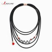 Chokers Amorcome Unqiue Design Black Rubber Statement Necklace Bib Multi Strand Leather Choker Collars Unusual Women Jewelry