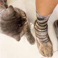 3D Simulation Animal Cat Foot Socks Unisex Funny Soft Cotton Long Socks Fashion Leopard Tiger Harajuku Christmas High Ankle