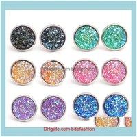 JewelryFashion Drusy Druzy Sier Kaplama Yuvarlak Reçine Taş Taş Saplama Küpe Kadınlar Için Lady Takı Bırak Teslimat 2021 2 MU5L
