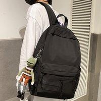 Hocodo Moda Hombres Mochila Unisex Laptop Schoolbag Impermeable Nylon Casual Viaje Mochila Color Sólido Colegio Colegio Bolso 210309