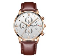 NIBOSI Brand Quartz Chronograph Fine Quality Leather Strap Mens Watches Stainless Steel Band Watch Luminous Date Life Waterproof Wristwatches