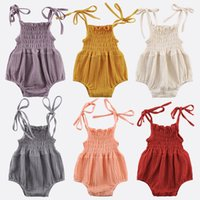 6 Colors Lovely Retro Baby Girls Lace Up Romper Soft Cotton Linen Summer Sleeveless Strap Toddler Pleated Jumpsuit Overalls M3692
