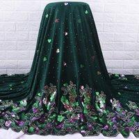 Zhenguiru tecido de veludo de alta qualidade lantejoulas tecido de renda africano bordado tecido nigeriano bordado para mulheres casamento e festa A2084