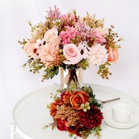 Dekoratif Çiçekler Çelenk Yapay Gül Lavanta Ortanca Daisy Sonbahar Hibrid Buket Ev Düğün Noel Dekor için Sonbahar İpek Sahte