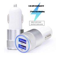 LED 5V 2.1A 듀얼 USB 고속 자동차 충전기 금속 알루미늄 합금 어댑터 아이폰 삼성 갤럭시 태블릿