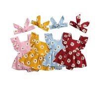 초점 태어난 아기 소녀 소년 해바라기 Romper Headband 2pcs ruffles 짧은 소매 백리스 점프 4 색 210729