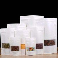Beyaz Kraft Kağıt Torba Stand Up Hediye Kurutulmuş Gıda Meyve Çay Ambalaj Torbalar Kraft Kağıt Pencere Çantası Perakende Fermuar Kendinden Sızdırmazlık Çantaları 0024Pack