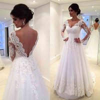 Boutique Wedding Dress with Long Sleeves Lace Appliques Bodice Backless A Line Wedding Gown V Neck Vestido De Noiva