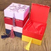 4pcs 대형 중국 스타일 실크 브로케이드 크리스마스 선물 상자 보석 사각형 팔찌 저장 케이스 면화 충전 술 포장