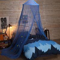 Inicio Textil Star Mosquito Net Blue Dream House 1.8m Cama doble A prueba de bebé Cuna Netificación Play Tent Canopy NE