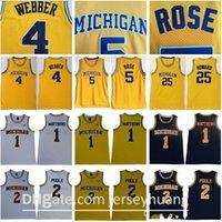 NCAA Michigan Wolverines 5 Jalen Rose Jersey Chris Webber 4 Juwan Howard 25 1 Charles Matthews 2 Jorda Poole College Basket Basket Gialle