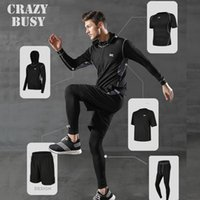 Men's Tracksuits 5 Pcs Set Tracksuit Gym Fitness Compression Sports Under Suit Clothes Running Jogging Wear Exercise Workout Tights
