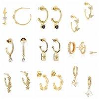 Hoop & Huggie Aide 925 Sterling Silver Zircon C Shape Opening Earrings For Women Crystal Butterfly Star Charm Jewelry