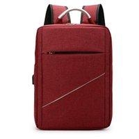 Backpack For Men 2021 Luxury Waterproof Nylon Bag Laptop USB Charging Business Solid Color Rucksack Man Simple Bagpack