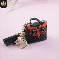 Leather diamond bear key chain pendant cartoon Presbyterian cute key bag car mobile phone pendant small gift #01