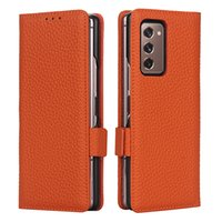 Folio Genuine Leather Phone Case for Samsung Galaxy Fold2 5G Dual Card Slots Magnetic Wallet Clutch Bracket Anti-skid Business Sturdy Protective Shell Anti-fall