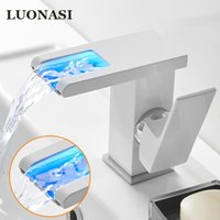 Bathroom Sink Faucets LED Waterfall Basin Faucet, Single Handle Cold Water Mixer Tap RGB Color Change Powered By Flow KL-6103H