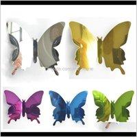 Décorations 1 Set Gold Sier 3D Butterfly Miroir Sticker Sticker Mur pour DIY Enfants Room Home Décoration Party Mariage de Jlloia Ceeth 8GXJQ