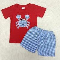 소년 고품질 여름 짧은 소매 복장 솔리드 컬러 라글란 셔츠와 Seersuckers 반바지 귀여운 패턴 설정