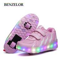 2020 스 니 커 즈 롤러 신발 두 개의 바퀴와 밑돌이 삭제 신발 어린이 여자 아이들 소년 빛을 빛나는 빛나는 빛나는 조명 된 x0719