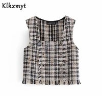 Klkxmyt chaleco mujeres 2021 moda doble breasted cheque textura chaleco vintage sin mangas sin mangas hembra abrigo chic tops chalecos de mujer