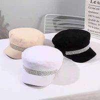 베레츠 2021 가을 모자 여성용 큰 진주 세트 다이아몬드 플랫 모자 군사 모자 한국어 버전 오리 혀 팔각형