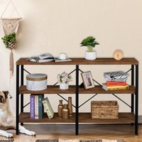 Holders Racks Holder Rack 3-Tier Console Sofa Table Industrial Foyer For Living Room, Entry Way, Hallway,Rustic Brown