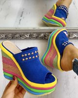 Leisure Women Sandals Wedges Shoes 2021 Summer Woman Sexy Mules Party Platform High Heels