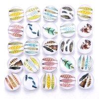 Bracelets de charme 10pcs / lot Snap bijoux Vintage Feather 18mm Boutons en verre Fit En Cuir Argent Bouton Bracelet