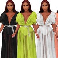Femmes Robes Été Femmes Mesh Transparent De Deep V cou Veau Taille haute Maxi Sexy Nigth Club Party Flare Sleeve Long Vestidos