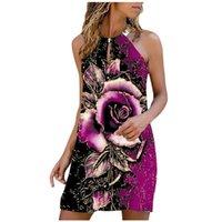 Casual Dresses 2021 Vintage Summer Floral Print Dress Women Fashion Bohemian Mini Cocktail Beach Halter Sundress Neck-Mounted Sleeveless