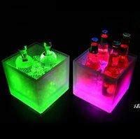 3500 ملليلتر مستطيل أدى ضوء دلاء الجليد مضيئة طبقة مزدوجة مربع دلو البلاستيك غير سامة للماء المطبخ أدوات بار متين DWA5055