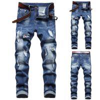 Men's Jeans TELOTUNY 2021 Autumn Casual Slim-cut Retro Tight Trousers Sexy High Street Leggings Nostalgic Hole Long