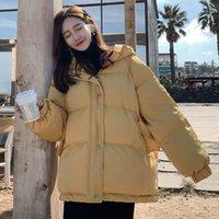 Негабаритные куртки зимних пульсов для женщин женский корейский свободный с длинным рукавом пальто женщина Parkas мода теплый и