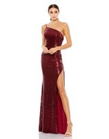Sexy Black Burgundy Sequin One Shoulder Split Backless Evening Dresses Homecoming Prom Pageant Party Dress Custom Size 2-20 D8E926023