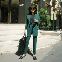 Women's Suits & Blazers Set Female 2021autumn Temperament Fashion Slim Small Suit Jacket + Harlan Trousers Elegant Casual Two-piece Solid Co
