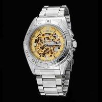 ES / Gore Fashion Goer ahueca la parte inferior a través del reloj de pulsera de los hombres del cinturón de acero a prueba de agua mecánico automático
