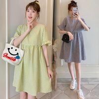 2021 Yeni Marka Yaz Annelik Elbise Kadın Rahat Ekose Büyük Boy Elbiseler Hamile Kadın Giyim 991 V2