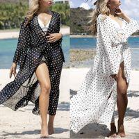 여성 수영복 F62E 여성 폴카 도트 맥시 비치 드레스 플레어 슬리브 시폰 카디건 수영복 덮개