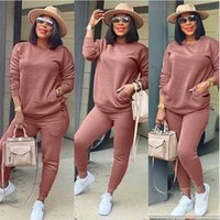 Womens Solid Casual Tracksuits Fashion Trend Pullover Sweatshirt Slim Trousers 2Pcs Outfits Designer Female Fall Winter Street Two Piece Sets