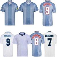 1996 Retro Engla-Lond Beckham Classic Soccer Jersey 80 89 90 92 94 98 2002 Scholes Shearer Owen Gerrard Ferdinand Ancient Football Shirt
