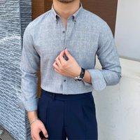 Men's Casual Shirts Plus Size 2021 Summer Men Business Striped Shirt Short Sleeve Slim Office Tuxedo Camisa Social Masculina