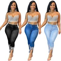 Pantalones para mujer Capris Cutlubly Pantalón Casual Midi cintura femenina al aire libre Streetwear Moda Beading Crown Jeans con bolsillos con cremallera Pantalones de mezclilla