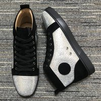 Latest High Quality Red Bottom Boots Casual Shoes Designers Brand Rivet Sneakers Mens Womens Couple Trainers Spikes Suede Flat Stylist Shoe